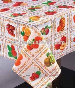 PVC transfer laminated table cloth Thick Plastic Cover Table Cloth for sale