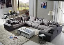 new design wooden fabric modern u shaped sectional sofas