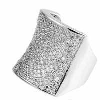 Hot Sell Pave-Setting Saddle- Shape Cubic Zircon Silver Copper Broad Band Ring