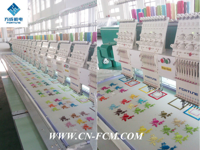 12 head 12 needle flat embroidery machine FC-FG1208, Fortune computer embroidery machine ISO, SGS, CE