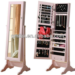 multi-function hotel armoire with full length mirror and jewelry cabinet