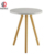 white color round dining table with matt mdf top