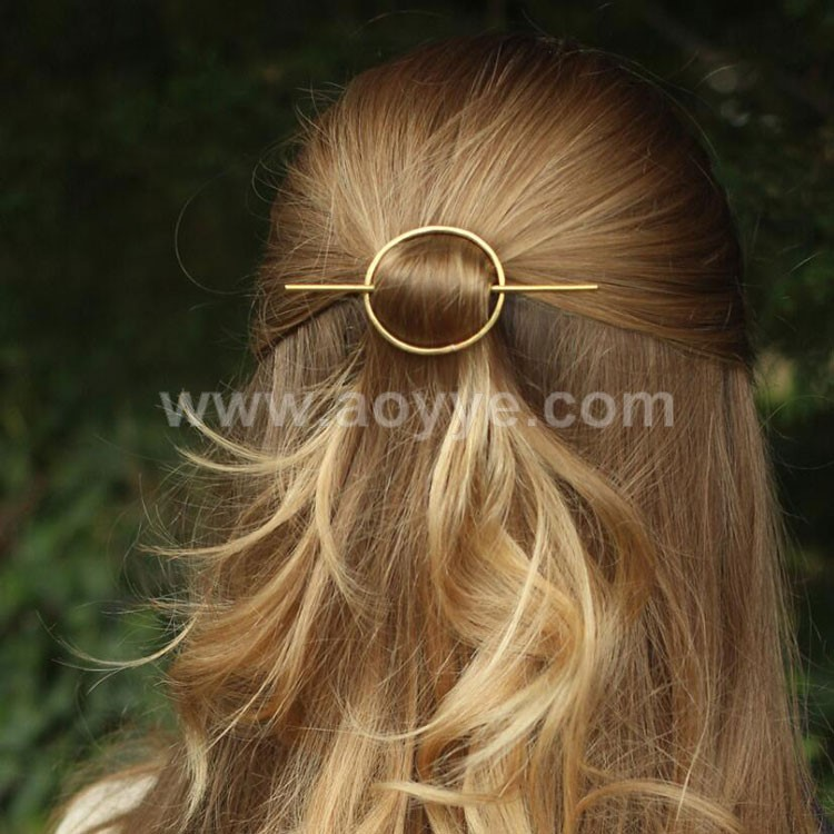 Simple design fashion women metal circle hair accessories