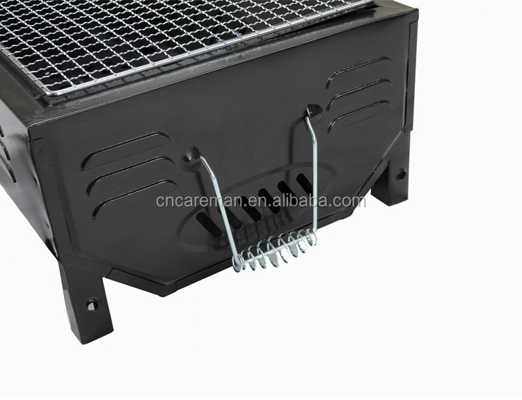 Small size Japanese Style Charcoal Barbecue Grill, 2 Way Usage Rectangle Table Top BBQ with Grill Pan and Charcoal Tongs