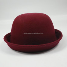 Top hats wholesale round cap roll up brim felt hillbilly hat