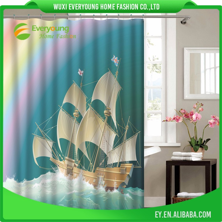 Digital Printing Ocean Series Polyester Fabric Shower Curtains