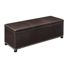 Wood framed nailhead decor shoe storage long bench
