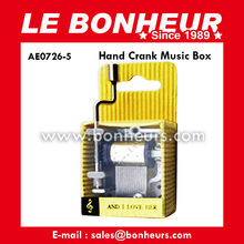 New Novelty Toy Yellow Hand Crank Christmas Music Box