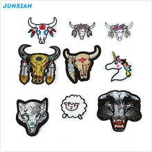 Hot sale superior quality garment cow sheep wolf animal head design patch