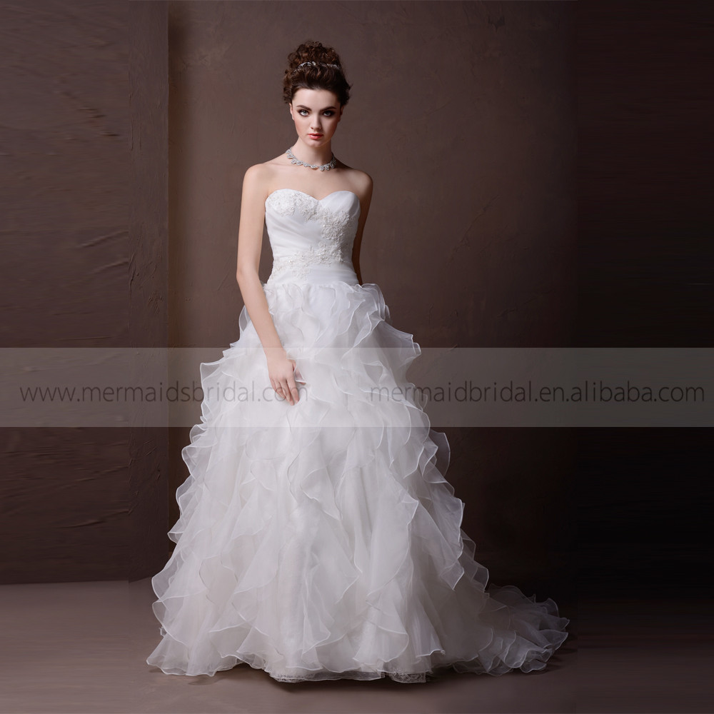 Glamorous Sweet Heart Lace & Beads On The Bodice Ruffle Bottom Wedding Dress With Chapel Train