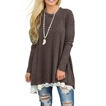Women Lace Tops Fashion Design Charming Long Sleeve Spliced Blouse Shirt Casual Tunic With Lace Bottom