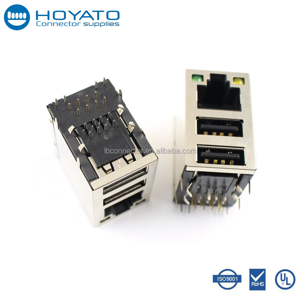 10/100/1000 BASE-TX Tab-Up Shielded Magnetic Transformer Ethernet Dual RJ45 Female Connector PCB