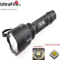 Ultrafire C8 1xCREE XP-L HI V2 1600lm Cool White Light 10x7135 Driver 5-Mode OP LED Flashlight (1 x 18650)