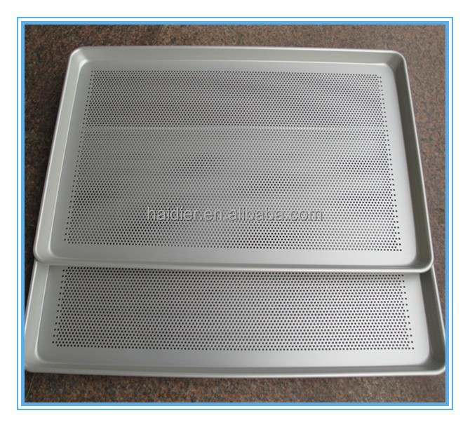 plated aluminum perforated flat baking tray for cake , bread