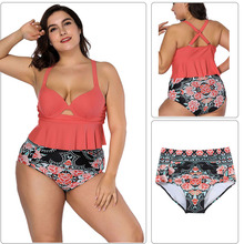 Captivating Light Orange Ruffle Hem Cut Out Front African Print Woman Swimwear Swimsuit