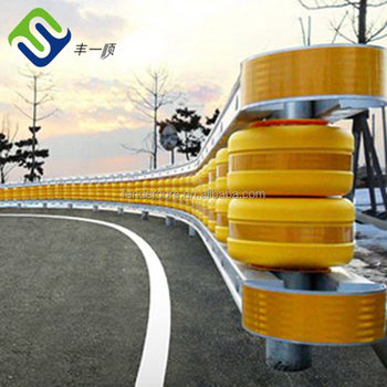 World Wide Use Road Roller Yellow and Red color steel frame and Foam Filled roller highway safety guardrail for bridge, high way