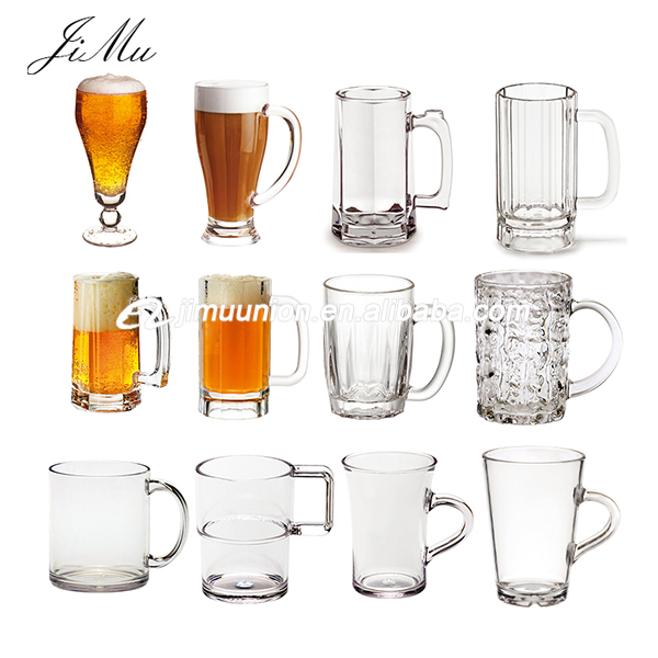Wholesale Promotional unbreakable polycarbonate Pc custom Logo personalized unique plastic beer drinking mugs with handle