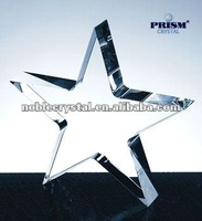 Noble New Logo Engraved Optic Standing Star Crystal Paperweight