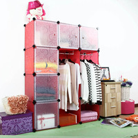 Embress red flower luxury wardrobes assembled by panels and brakets(FH-AL0039-6)