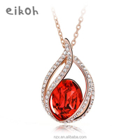 OUXI fashion design zircon meaningful red crystal pendant necklace 10311