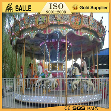 Newest design playground rides carousel happy running large luxury carousel horse for sale