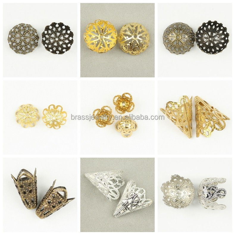Vogue Jewelry Parts Hot Selling Pretty Fashion Designs Different Flower Shape Metal Beads Cap for Sale
