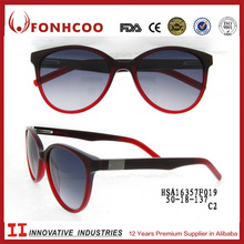 FONHCOO New Arrival High Quality Red Color Acetate Spectacle Temples Sunglasses For Lady