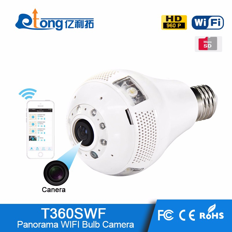T360SWF White fisheye HD Hiden 3g sim card <strong>Camera</strong> Bulb Light