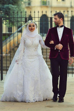 Vestidos de noiva Saudi Arabia Muslim Wedding Dresses Long Sleeve Lace Beads Slight Bridal Dress Appliques HS409