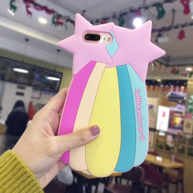 Wholesale New Design Super Cute Rainbow Stars Gel Silicone Bulk Back Compatible Cell Phone Case Cover For Ipone 6 7 Plus