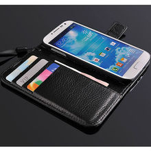 luxury leather flip wallet case lichee case for samsung galaxy s4 wallet case with card slots