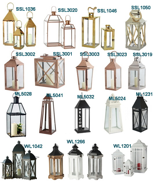 Square High quality sliver decor stainless steel lantern set of 2