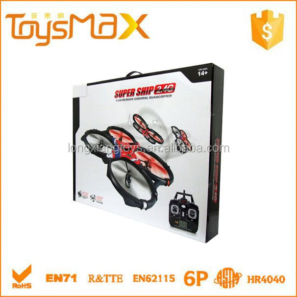 360 Degrees Overturn 2.4G full set rc drone quadrocopter 4-axis aircraft kit big with lights