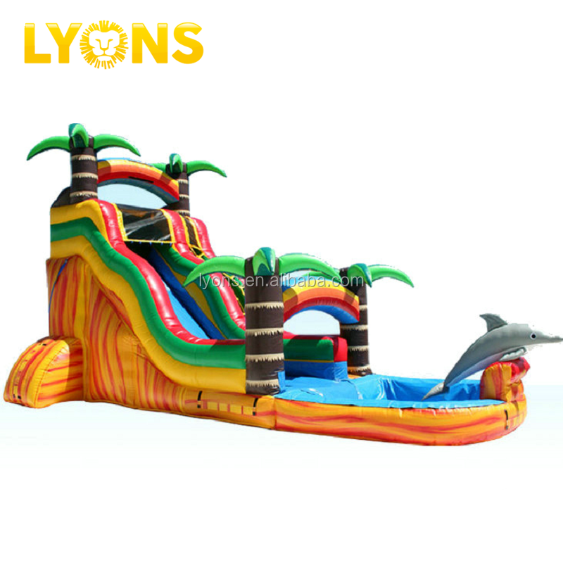 Giant volcano inflatable water slide Inflatable slip n slide Inflatable slide with pool