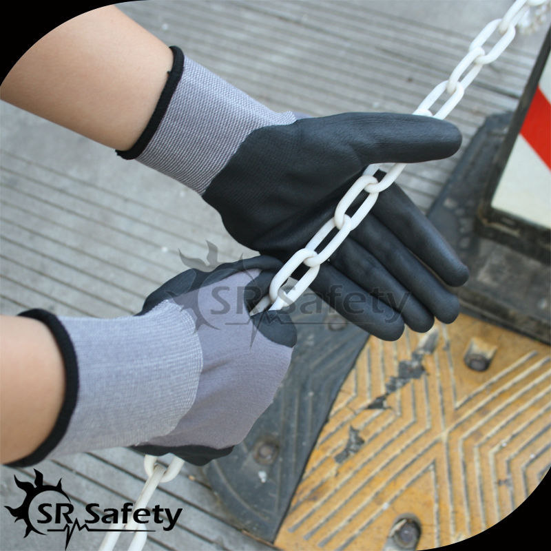 SRSAFETY 13g micro foam nitrile coated work safety gloves/hand works