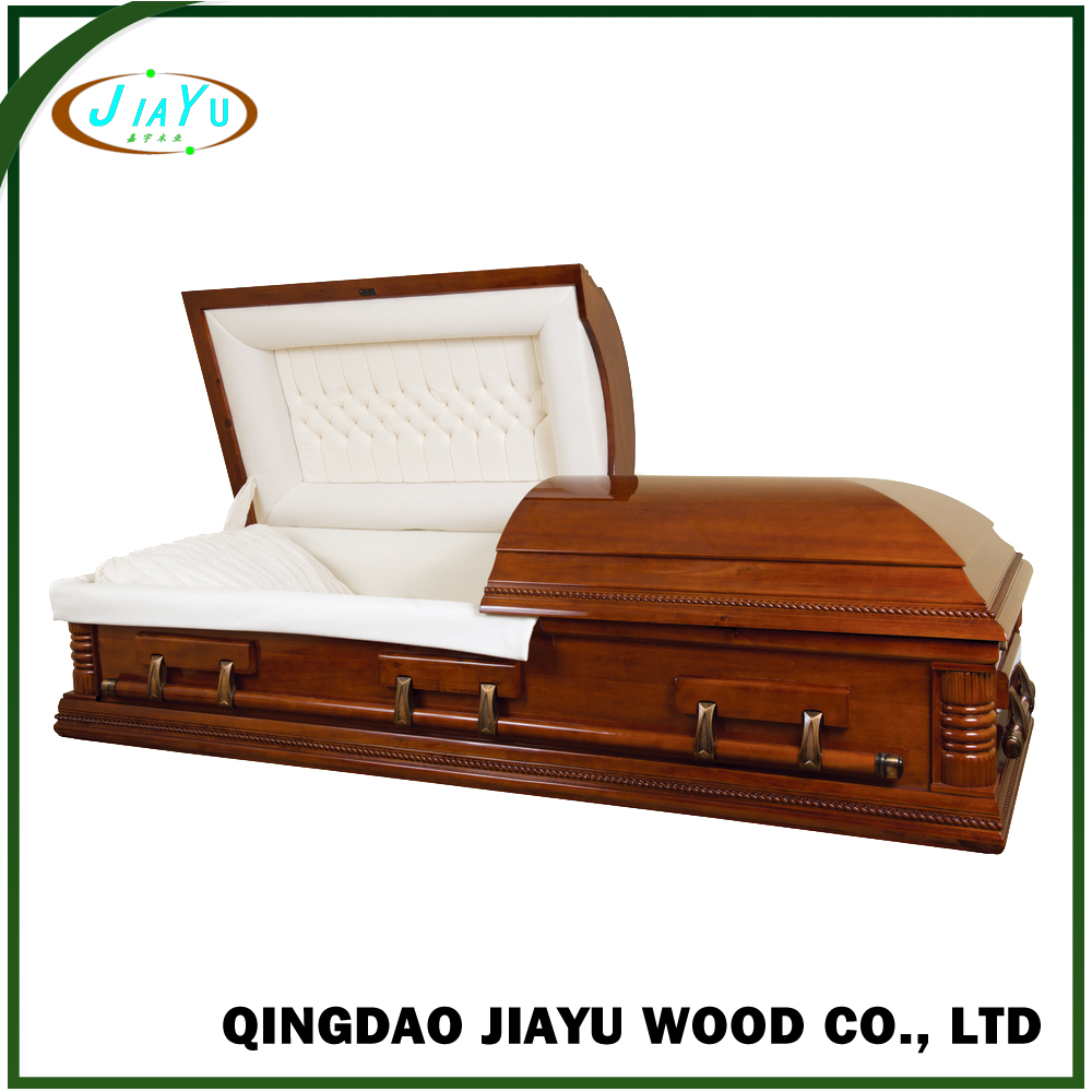 Specialized us style funeral casket with velvet interior and adjustable bed