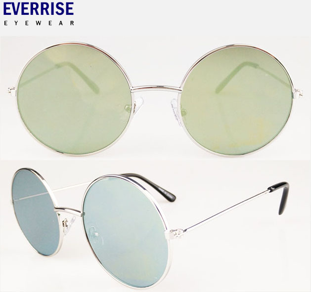 Cheap price retro metal sunglasses,round frame flat mirror lens 2016 free sample