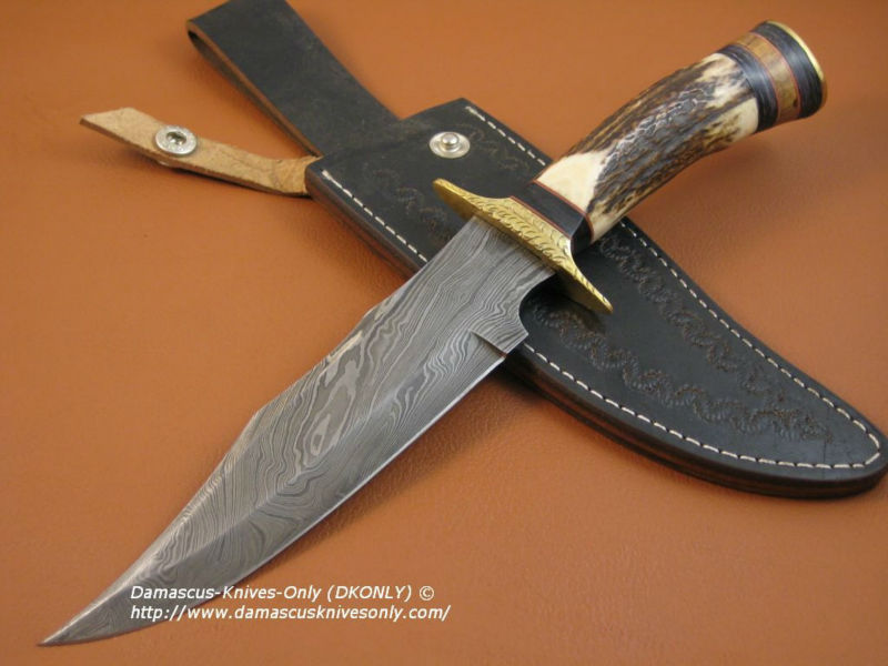 "udk h29"" custom handmade Damascus bowie knife/ hunting knife with stag and brass bolster"