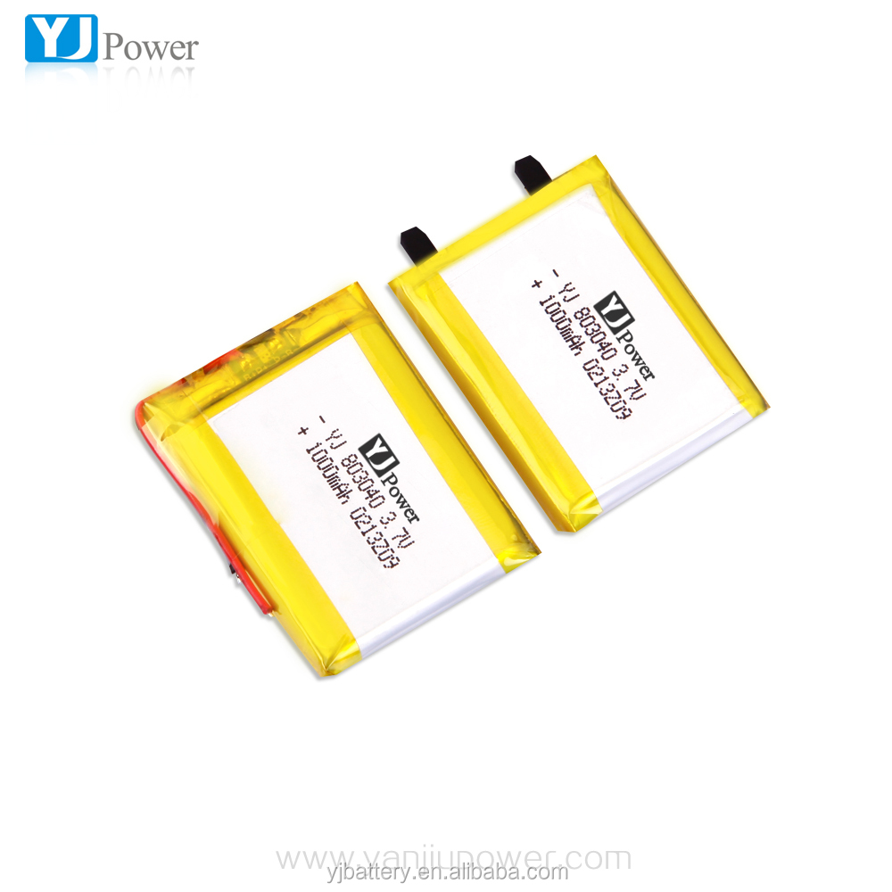 3.7V 1000mAh 803040 factory cell 1000mAh battery lipo battery for esky