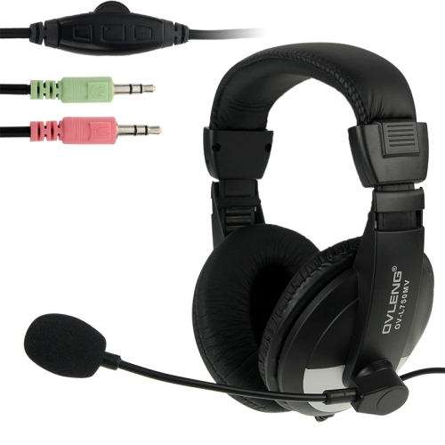 OVLENG OV-L750MV Universal Stereo Headset with Mic and Volume Control Key for Computer, Cable Length: 2m