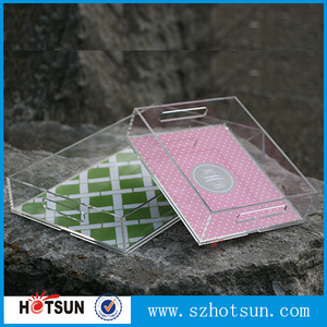 Fashion design UV printed square acrylic tray with Handle