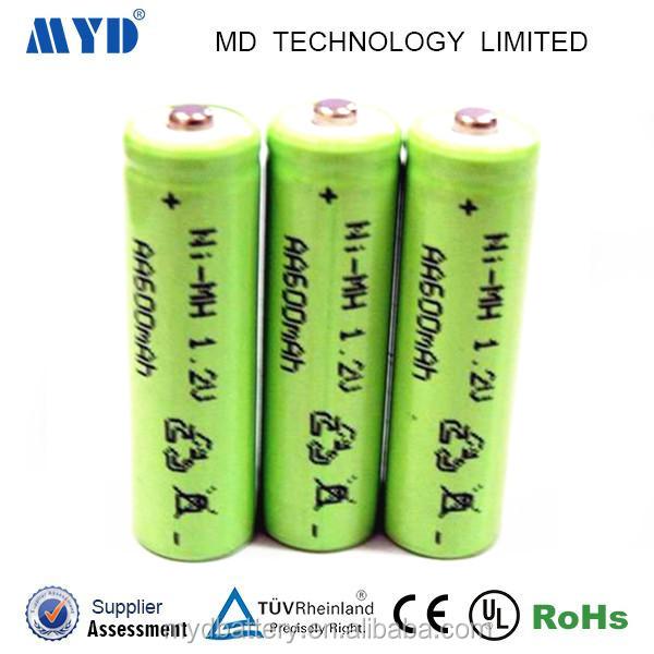 High safety 1.2V AA nimh 600MAH rechargeable battery for digital cameras and electrocars