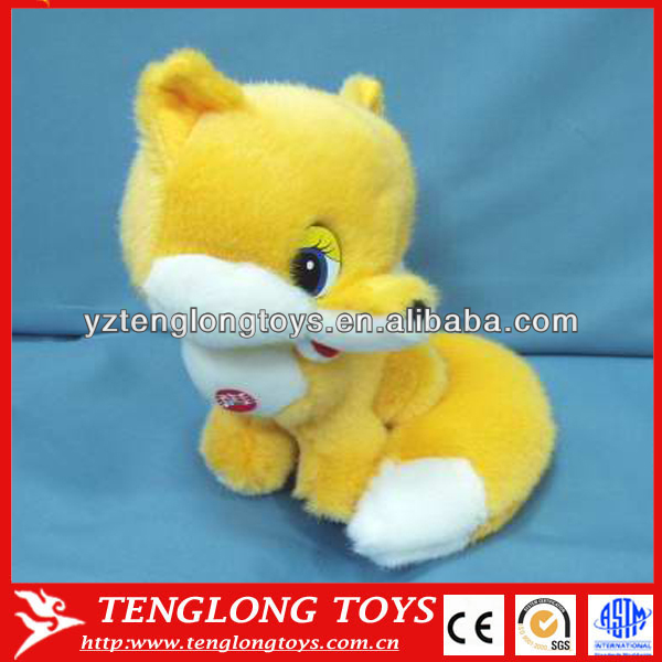 Cute yellow fox toy stuffed plush fox with big eyes
