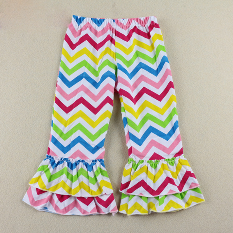 2017 hot sale children clothes christmas striped blank icing baby leggings icing ruffle pants leggings for baby
