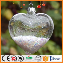 handblown clear glass heart with filler decoration