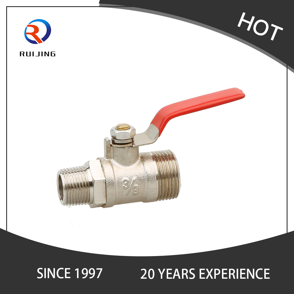 Red Paint Stainless Steel Handle Brass Mini Ball Valve
