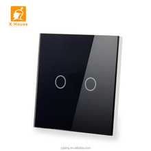 New design 2gang 1way EU standard touch wall panel led light mirror touch sensor <strong>switch</strong> JJ-TS-02AB