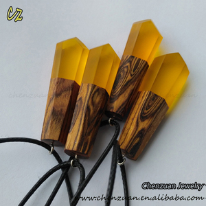 Homemade resin wooden jewelry raw epoxy wood necklace pendant