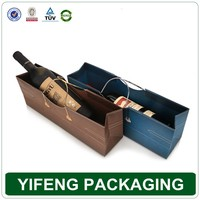 2016 Custom colorful printed paper wine bottle bags wholesale