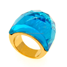 Fashion gold plated titanium men's large stone rings